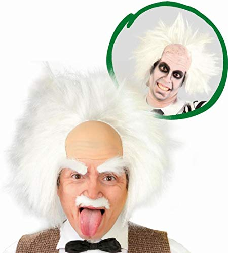 Guirca 4877 - Peluca Einstein Blanca esparcida sobre calota de Goma de Color Loco