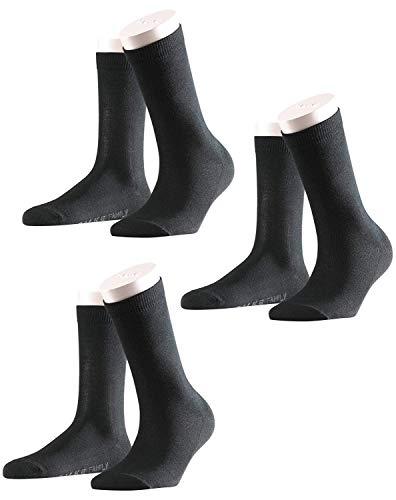 FALKE 3 Paar Damen Socken FAMILY im Set, 35-38, 39-42 - Schwarz (35-38 (UK 2.5-5))