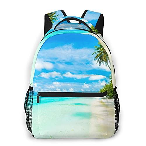 Mochila para adolescentes, hombres, mujeres, paquete de almacenamiento,Sun Blue Resort Tropical Beach Sea Maldi, Mochila para portátil de viaje para estudiantes de escuela informal de negocios