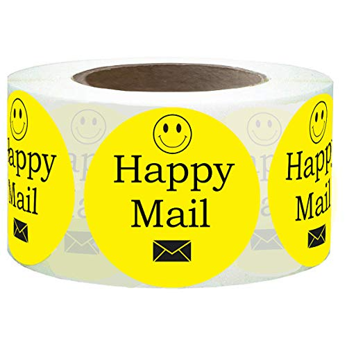 Happy Mail Stickers,Yellow Smiley Face Mail Labels,1.5 Inch Smiley Face Sealing Stickers for Package Envelope(Yellow,1.5)