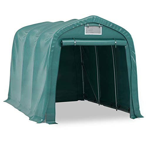 WooDlan Carpa Garaje de Almacenamiento PVC Verde 2,4x3,6 m