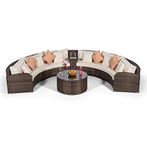 Giardino Riviera 6 Sitzer Rattan Gartenmöbel Set Braun - Sofa mit integrierter Kühlbox, Couch Tisch + Abdeckungen - Garten Lounge Möbel Set 8-teilig