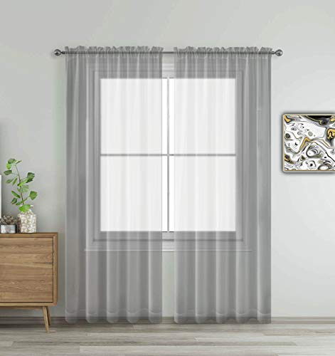 """WPM WORLD PRODUCTS MART Grey Window Sheer Treatment Panels Beautiful Rod Pocket Voile Elegance Gray Curtains Drapes for Living Room, Bedroom, Kitchen Fully Stitched, Set of 2 (Grey, 84"""" Inch Long)"""