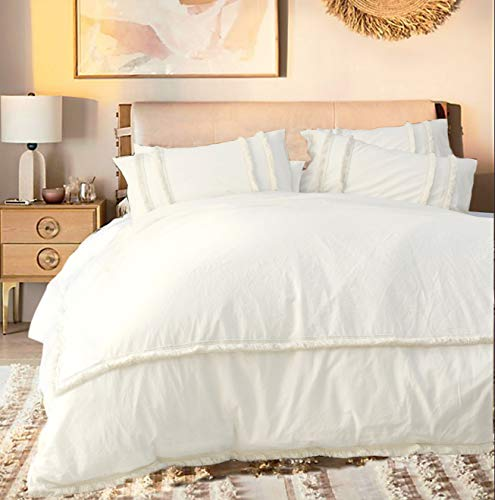 Flber White Duvet Cover Tufted Boho Bedding Comforter Queen Size, 86in x90in