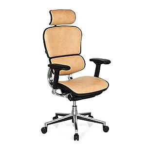 HJH Office 652261 Ergohuman – Silla giratoria de oficina de piel auténtica, color beige