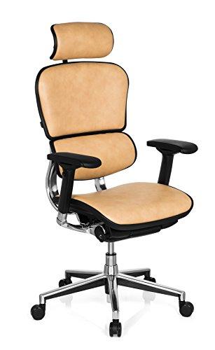 Preisvergleich Produktbild hjh OFFICE 652261 Chefsessel ERGOHUMAN Echtes Leder Beige hochwertiger Bürodrehstuhl mit Vollausstattung
