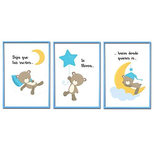 Cuadros Infantiles para habitación de Bebé y Niño. Set de 3 Láminas para habitación Infantil con Marco Azul de PVC. Tamaño A4, 21 x 30 cm.