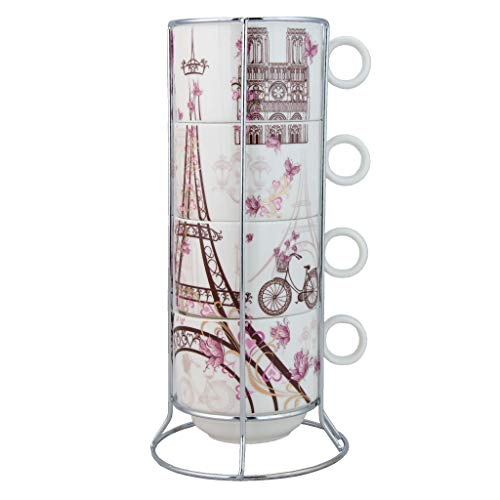 Grace Teaware Stackable Coffee Tea Mug 10-Ounce Set of 4 With Metal Stand (Paris)