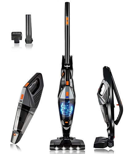 Hikeren Cordless Vacuum Cleaner 2-in-1, 2500Mah Li-Ion Battery Portable Cordless Wet Dry Vacuum Cleaner with Stainless Steel Filter for Home & Car with High Cyclonic Suction Power 12000PA