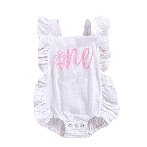 Janly Clearance Sale Mameluco para bebé de 0 a 24 meses, con volantes y cuello cuadrado, estampado de letras, para bebés de 12 a 18 meses, color blanco