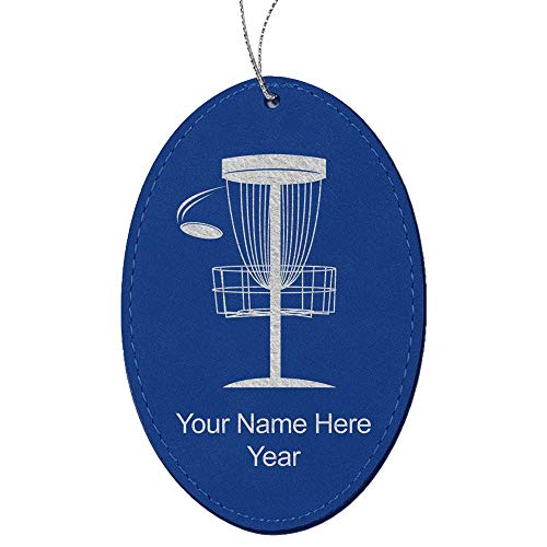 LaserGram Faux Leather Christmas Ornament, Disc Golf, Personalized Engraving Included (Dark Blue, Oval)