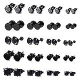 FIBO STEEL 20 Pairs Stainless Steel Black Stud Earrings for Men Women Earring Set CZ Inlaid B