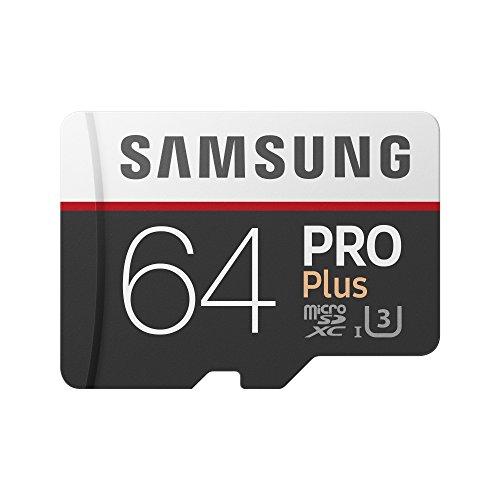 Samsung MB-MD64GA/EU PRO Plus Scheda MicroSD da 64 GB, UHS-I, Classe U3, fino a 100 MB/s di Lettura e 90 MB/s di Scrittura, Adattatore SD Incluso