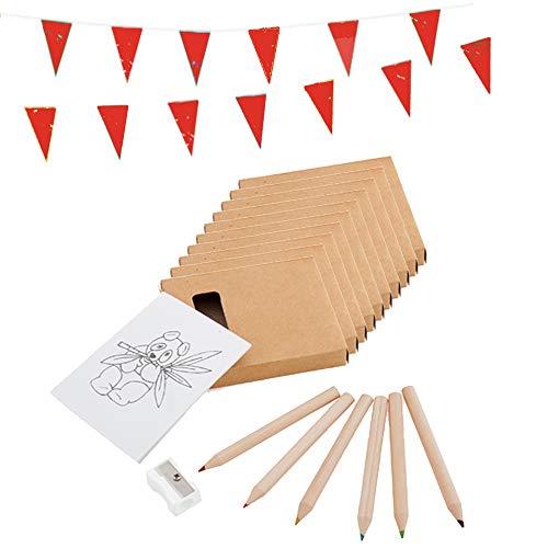 Piñatas de Cumpleaños Infantiles Partituki. 30 Packs para Colorear: 6 Lápices de Colores, 1 Bloc con Dibujos, 1 Sacapuntas y 1 Guirnalda de 10 m. Detalles Cumpleaños Infantiles y Regalos Niños Colegio