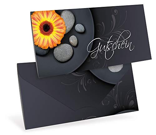 Verschiedene Motive - Gutscheinkarten (10 Stück) - Geschenkgutscheine für Wellness, Massage, Kosmetik - DIN lang Faltkarte verschließbar, blanko Vordruck zum Eintragen der Werte
