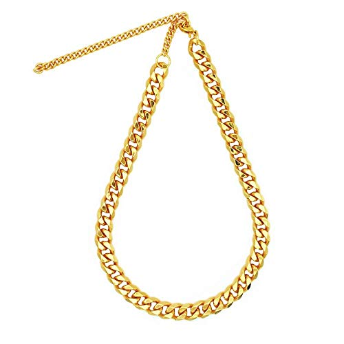 TUOKAY direct Big Flat Faux Gold Puppy Chain Dogs Fashion Fake Gold Costume Necklace Chain Dog Collar, 12mm, 15' with Adjustable Link Chain