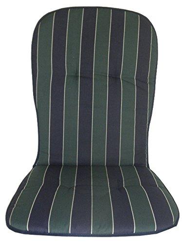 Polster für hohe Monoblock Stapelstühle in Streifen dunkelblau grün