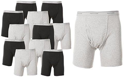 Fruit of the Loom Men`s 12-Pack Boxer Briefs, Black/Grey, Medium