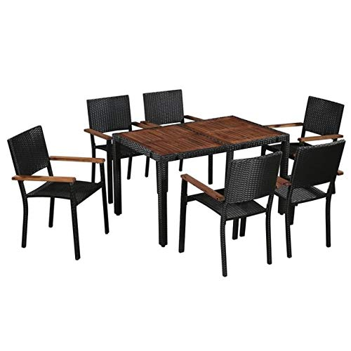 ABOTHB Juego de Comedor al Aire Libre de 7 Piezas, Juego de Muebles de jardín Moderno Negro, Juego de salón de ratán polivinílico para jardín