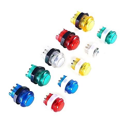 TX GIRL 8 Piezas 24/28 Mm LED Pulsador Iluminado 5V Interruptor Incorporado para Juegos De Joystick De Arcade Mame Jamma Frambuesa (Color : 30MM Yellow)