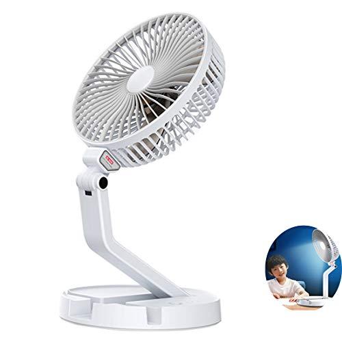 Ventilador Mesa Plegable portátil Pared 4en1 con lámpara LED Soporte para Smartphone Ajustable,Plegable telescópico,Ventilador de Suelo USB,Recargable para Oficina,hogar,Aire Libre Viajes