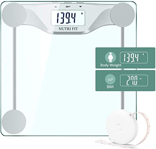 NUTRI FIT Digital Body Weight Bathroom Scale BMI, Accurate Weight Measurements Scale,Large Backlight Display and Step-On Technology,400 Pounds,Body Tape Measure Included