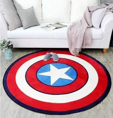 hhjxptst Alfombra, Diámetro Redondo Marvel The Avengers Alfombra De Felpa Iron Man Alfombra Capitán América Batman 80x80cm H01