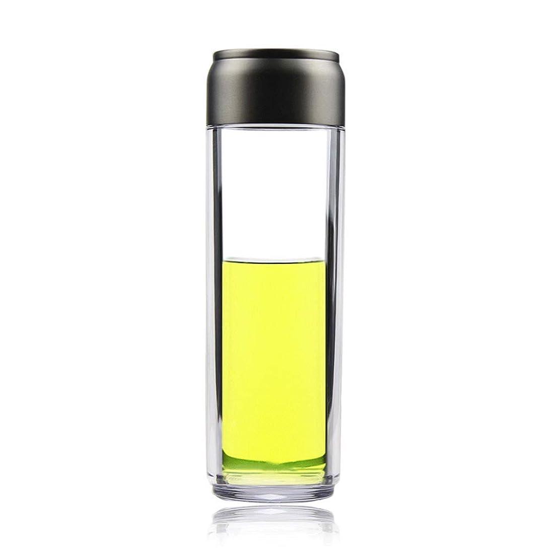 請負業者尾酸素プラスチックカップポータブルスポーツカップ高温透明カップ手ガラスグレー375 ml