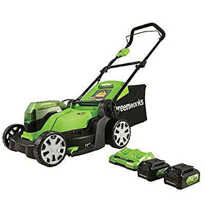 Greenworks G-MAX 17'' Lawn Mower with 2 x 24V 4Ah Batteries and Dual Port Charger - MO48B2210 model