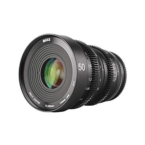 MEKE 50mm T2.2 Large Aperture Manual Focus 4K Cine Lens for Micro Four Thirds Mount Compatible with Olympus Panasonic Lumix Cameras and BMPCC 4K Zcam E2