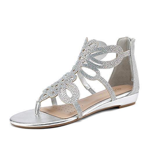 DREAM PAIRS Women's Jewel_02 Silver Rhinestones Design Ankle High Flat Sandals Size 8.5 M US