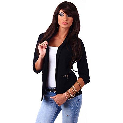 Fashion4Young 10744 Damen Kurzjacke Blazer Jäckchen Jacke knopflos mit Reverse Gr.36/38 (S/M=36/38, Schwarz)