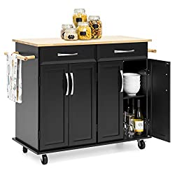 Best Choice Products Portable Kitchen Island Cart for Serving, Storage