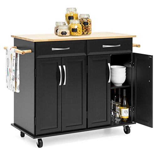 Best Choice Products Portable Kitchen Island Cart for Serving, Storage, Décor w/Wood Top, 2 Towel Racks, Drawers, Cabinets, Adjustable Shelves, Black