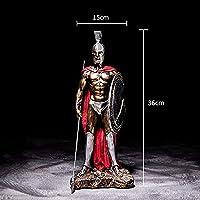 兵士の彫刻キャラクター像樹脂工芸品デスクトップレトロアーマー戦士像家の装飾-A_Size:15 * 36CM