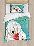 ABAKUHAUS Oso Polar Funda Nórdica, La Paternidad Y De Navidad, 1 Funda para Almohada Set Decorativo de 2 Piezas, 264 x 220 cm, Multicolor