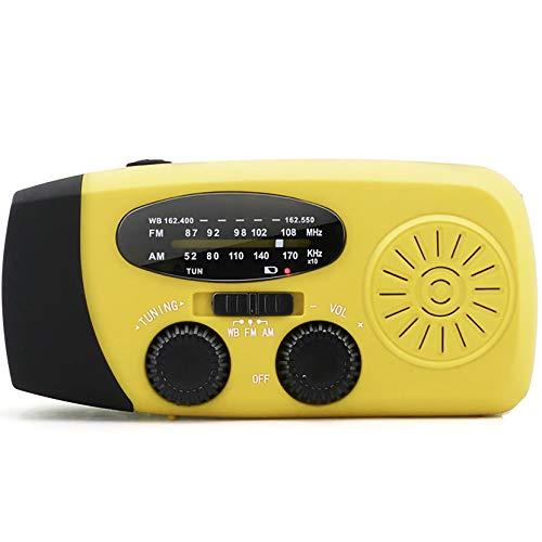 LPWCAWL Radio de Manivela Solar, Radio De Emergencia Am/FM, Radio Multifunción Portátil con Cargador De Emergencia del Teléfono, Linterna LED, Adecuada para el Hogar/Al Aire Libre