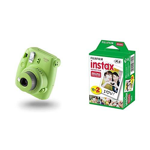 Instax Mini 9Cámara instantánea, Cámara con 10 películas, Verde + Mini BrilloPack de 40 Películas Fotográficas Instantáneas (40 Hojas), Color Blanco