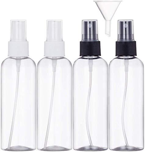 Bote Spray Botella de Aerosol Vacío Plástico Transparente Niebla Fina Atomizador de Viaje Conjunto de Botellas (4 * 100 ML)