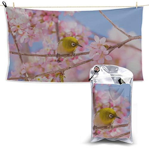 Limiejo Japanese Bird with Sakura Microfiber Towels Body Microfiber Towel Yoga Towel Microfiber Microfiber Towel Wash 27.5'' X 51''(70 X 130cm) Best for Gym Travel Camp Yoga Fitnes