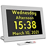 Digital Alarm Clock Day Date Calendar for School Kids Students, Working from Home, Seniors with Dementia or Alzheimers, with Remote Controller