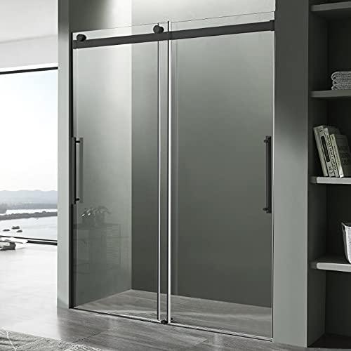 76 x 48 inch Frameless Shower Door in Matte Black   Stella Water Repellent Glass Shower Door with Seal Strip Parts and Handle   Easy Gilde Rollers Sliding Shower Door   SD-FRLS05901MB