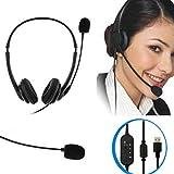 マイクヘッドセット、USBポート人間工学に基づいたノイズ低減ビジネス会議通話用の360度回転可能なヘッドセットSkypeオンラインコース有線ヘッドセット