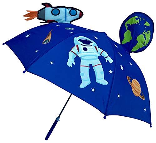HECKBO Paraguas 3D niños con Astronauta Espacial | con un Cohete, la Tierra, los Planetas, y un satélite con ventanillas | Sombrilla para niños y niñas | Paraguas para niños en Edad Escolar