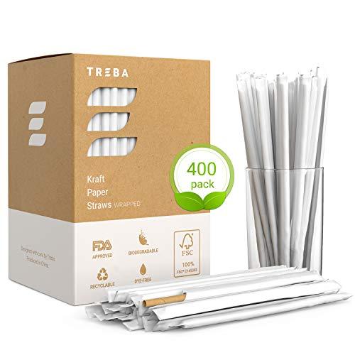 TREBA 400 Pajitas Biodegradables de Papel Kraft– Pajitas para Beber Envueltas –...
