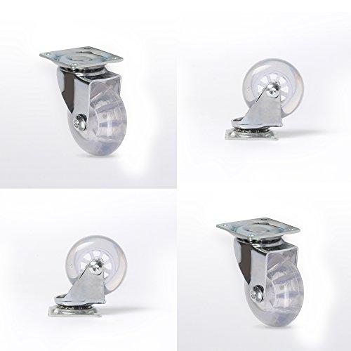 Möbelrollen Transparent Lenkrollen für Möbel Transportrollen 4 Stück ohne Bremse mit Kugellager Ø35mm