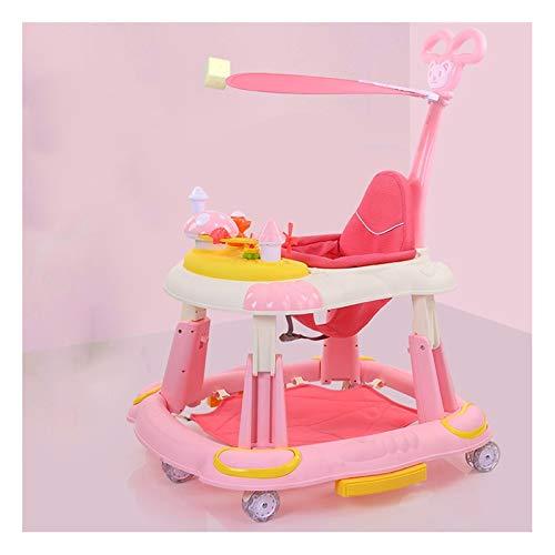 CJY-mirror Andador Bebe 2021, Andador de Actividad de Altura Ajustable con Rueda Universal y Bandeja de Juguetes para bebés y niñas, Andador de Aprendizaje Plegable, Centro de Actividades