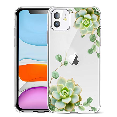 Unov Case Compatible with iPhone 11 Clear with Design Slim Protective Soft TPU Bumper Embossed Pattern 6.1 Inch (Succulent Plant)