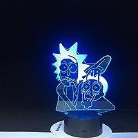 Lámpara De Ilusión 3D Luz De Noche Led Rick Y Morty Favorito De Dibujos Animados Bonito Regalo Para Niños 7 Colores Barco Decoración Del Dormitorio