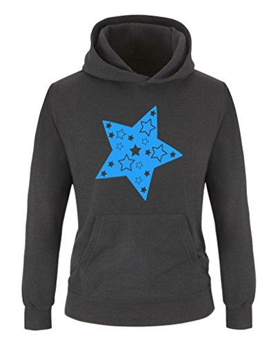 Comedy Shirts - Stern - Mädchen Hoodie - Schwarz/Blau Gr. 152/164